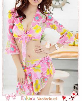 FASHION FLORAL FOUR-PIECE SPLIT BIKINI SWIMSUIT