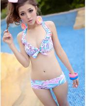 JAPANESE FLORAL THREE-PIECE BIKINI SWIMSUIT