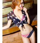 STARS AND STRIPES FLAG SEXY BIKINI SWIMSUIT WITH COVER
