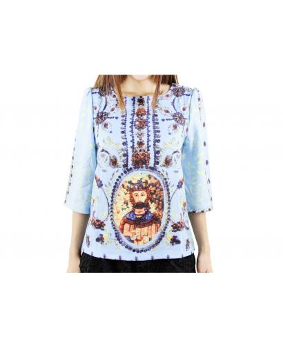 Court Style Jewelry Stone Printed Top + Lace Shorts (Suit)