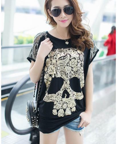 Fashion Gold Skull Pattern Loose Oversize T-Shirt