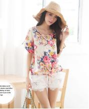 Floral Color Loose Round Neck Chiffon T-shirt