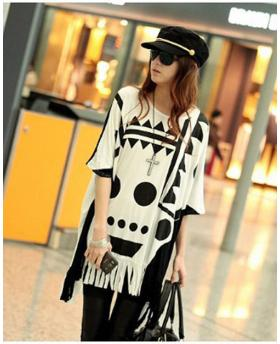 Fashion Loose Long Style Bat Shirt