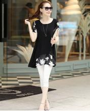 Round Neck Short-sleeved Chiffon Shirt Bottoming