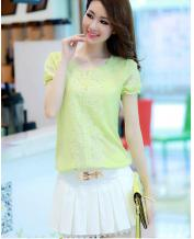 Korean Round Collar Chiffon Slim T-Shirt