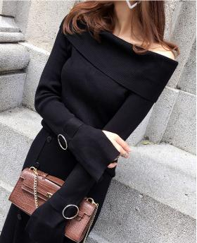 New Korean Style Lapel Collar All-match Loose Long Sleeve Knitted Sweater