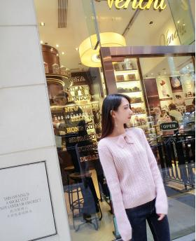 New Korean Fashion Long Sleeve Knitted Pink Sweater
