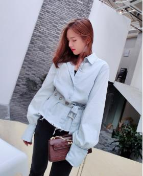 New Fashion Women's Denim Long Lantern Sleeve Light Blue Shirt