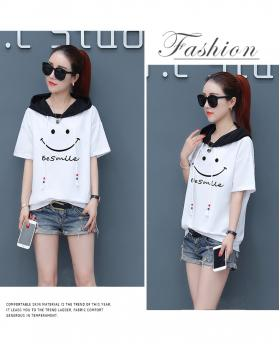 New Fashion Girl's Loose Thin Hoodie Short Sleeve T-shirt