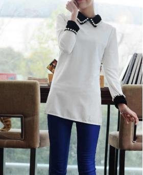 Fashion Long Style Bubble Beaded Sweatshirt