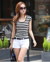 Round Neck Black and White Strips Bottoming T-Shirt