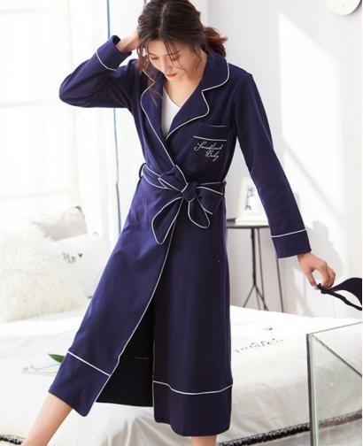 Spring Autumn Season Women Cute Sexy Cotton Long  Style Robe Bathrobe Fashion Home Clothing - Dark Blue