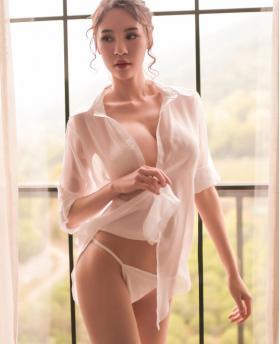 Sexy Underwear Sexy Transparent Chiffon White Shirt Sleepwear + T-Back