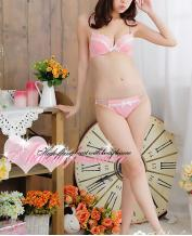 JAPAN PINK WITH WHITE DOTS BRA SETS