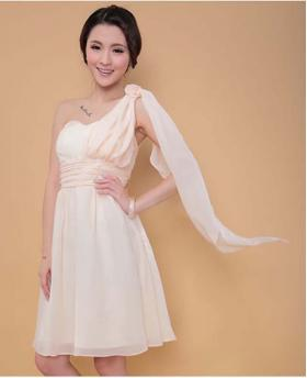 New Special One Shoulder Design Bride and Bridesmaid Dress