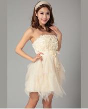 Short Style Skirt Strapless Bridesmaid Dress
