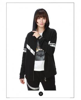 Ohcat Silver White Reflective Stripe Zipper Hoodies