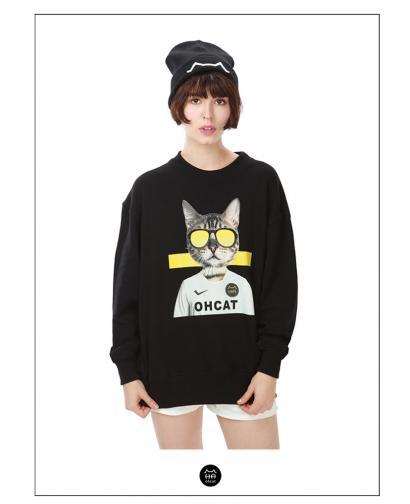 Ohcat Soccer Cat Round Collar Sweats