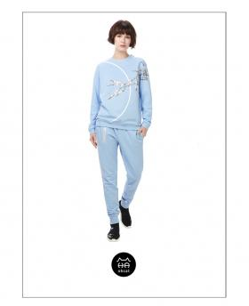 Ohcat Big Eyes Zipper Casual Pants - Light Blue