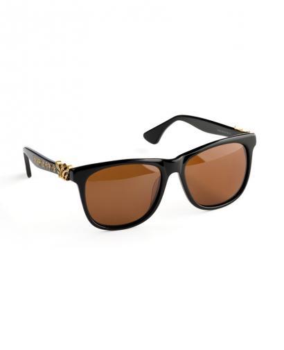 WiGi Atlantean Black Frame with Gold Metal Castings Luxury Glasses