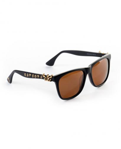 WiGi Atlantean Matte Black Frame with Gold Metal Castings Luxury Glasses