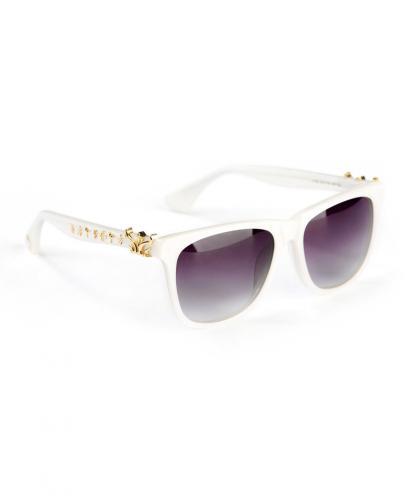 WiGi Atlantean Pearl White Frame with Gold Metal Castings Luxury Glasses