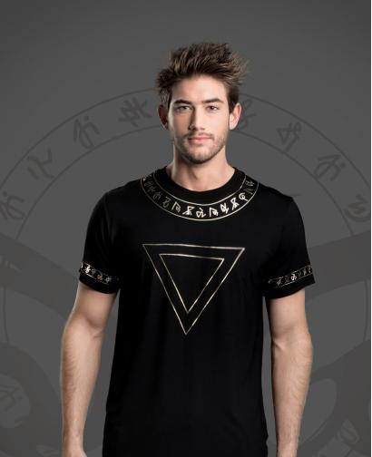 WiGi Atlantean Luxury Black T-Shirt With Gold Pattern - Limited