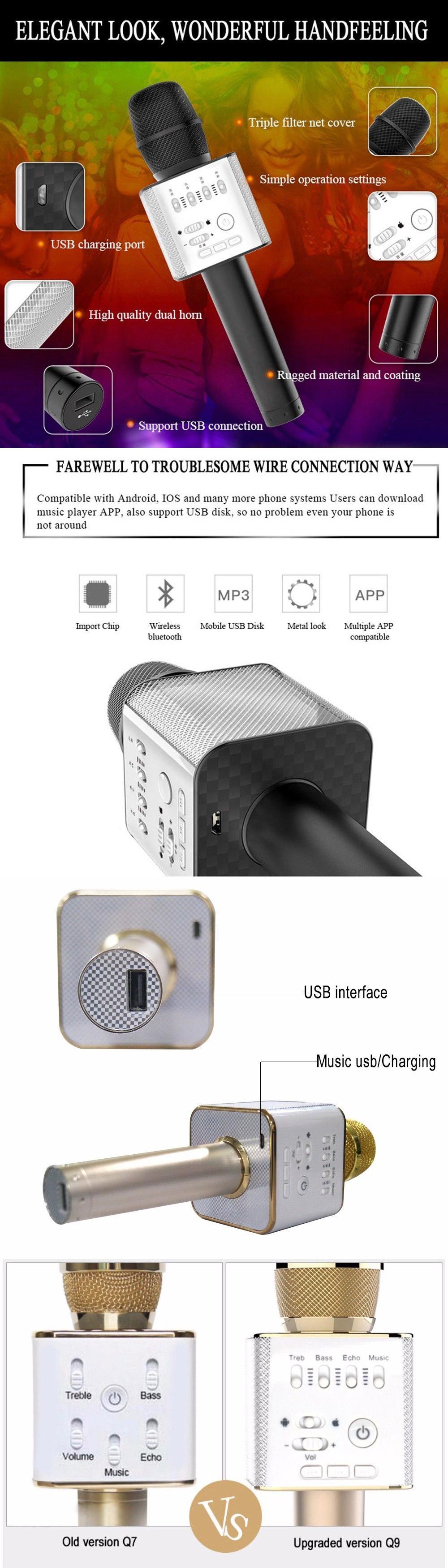 Q9 Wireless Bluetooth Condenser Microphone Mic Karaoke Player Write A Question To Merchant