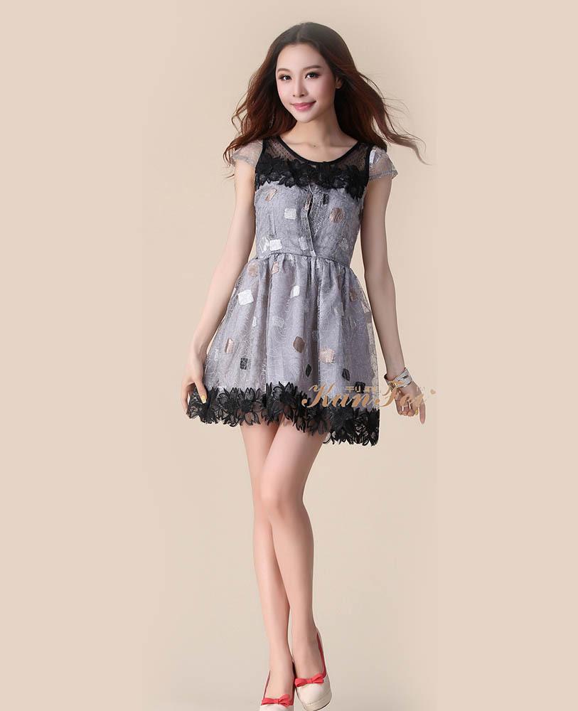 Asian Clothes Elegant Stitching Purple Lace Chiffon Dress ...